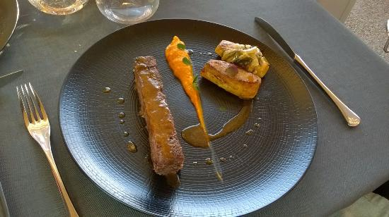Clesse, Frankrig: le plat principale au boeuf, pomme de terre et potiron