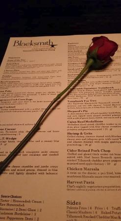 The Blacksmith Restaurant: A rose and the menu