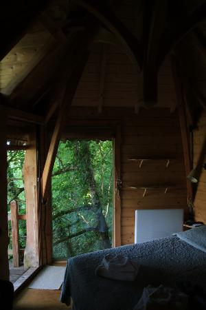 Monmarves, France : main bedroom of the treehouse; there is also a loft above for sleeping