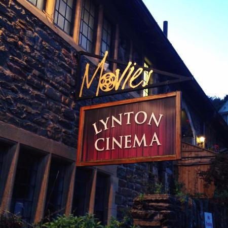 The signpost outside Lynton Cinema