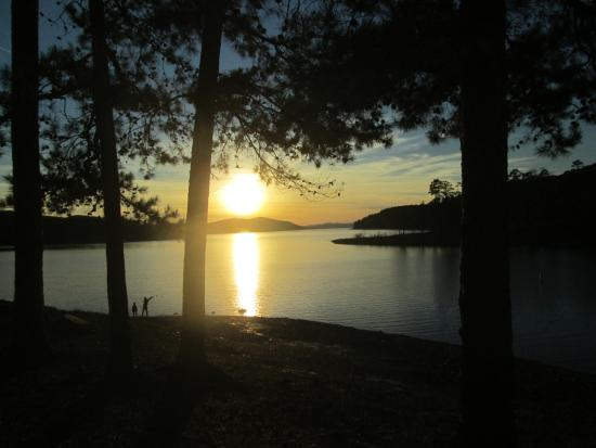 Lake Ouachita State Park Campground: Sunset from our tent site T7