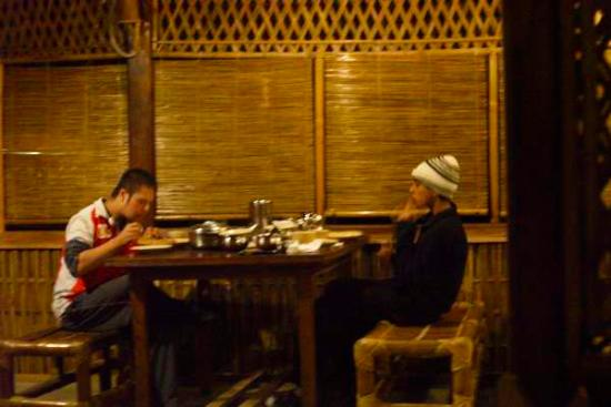 Nature Hunt Eco Camp, Kaziranga: My sons at dinner
