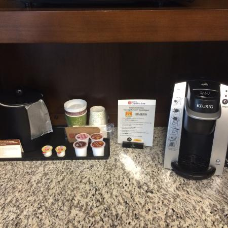 Coffee Station Mini Fridge In Room Picture Of Hilton Garden Inn Hickory Hickory Tripadvisor