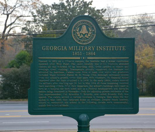 Brumby Hall and Gardens : Historical Marker for Georgia Military Institute