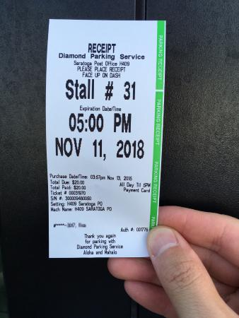 Breakers Hotel: 郵便局のパーキングチケット