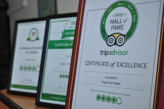 Tropic Inn Hotel : Trip advisor certificate of excellence