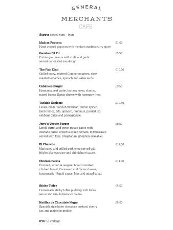 Sample Menu  Picture Of General Merchants East Belfast  Tripadvisor