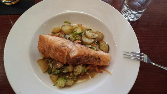 Stonington, CT: Salmon over brussel sprout hash.  To die for!