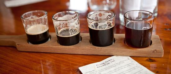 Plank Town Brewing Company tasting flight in Springfield