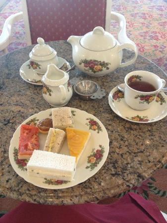 Garden View Tea Room: First course, sandwiches.