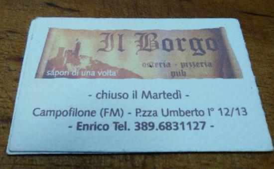 Campofilone, Ιταλία: Osteria Pizzeria Pub Il Borgo