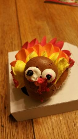 Westfield, NJ: The most delicious turkey cupcake..sorry his beak was smooshed but still it was fabulous!!!