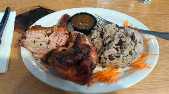 Crystal, MN: Jamaican Jerk Chicken,Red Beans and Rice.