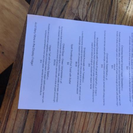Doonan, Australia: breakfast menu