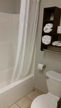 Comfort Inn: small, but clean, reasonably modern bathroom. Sink is exterior to bathroom.