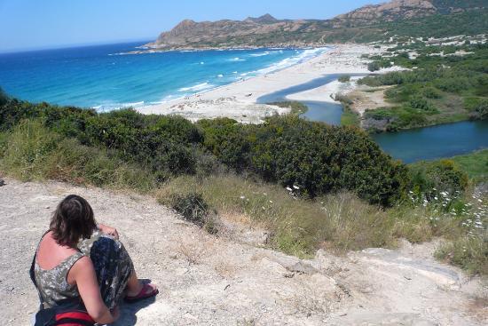 Camping Village l'Ostriconi: Der Strand, von der Nationalstrasse aus gesehen