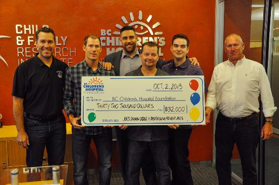 Presenting the cheque to BC Children's Hospital Foundation after the Joe's Salmon Lodge Charity