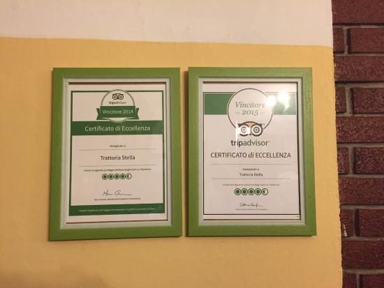 Piozzano, Italia: Trattoria Stella - Certificato Tripadvisor