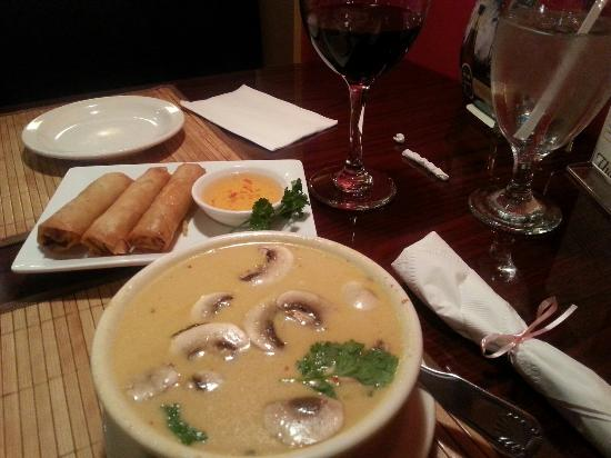 Thai Time: Coconut soup and spring rolls. Delicious!