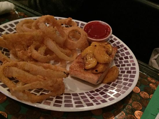 Hifalutin: Salmon with grilled peaches; onion rings