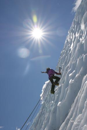 Glacier View, AK: Our 13-yr old wielding her ice ax.