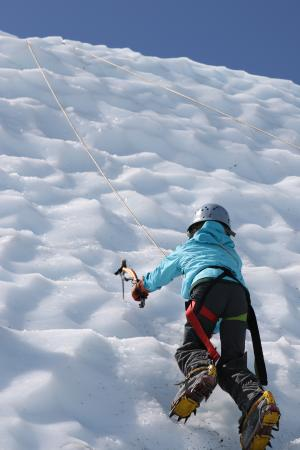 Glacier View, AK: Our 10 yr-old scaling the wall.