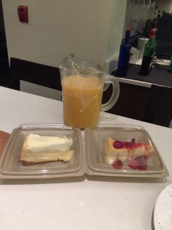 Hilton Garden Inn Tallahassee: A carafe of orange juice for the morning and a late night snack of key lime pie and cheesecake!