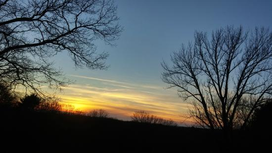 Ledyard, CT: Winter Sunset at Maugle Sierra Vineyards