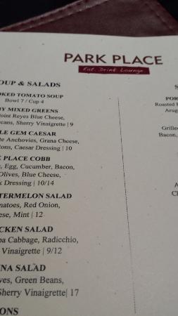 Park Place Restaurant: Menu