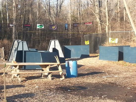 Belvidere, NJ: speedball bunkers ready to be moved to the field.