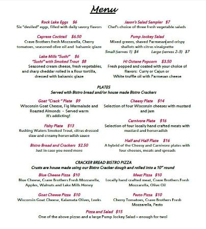 Lake Mills, WI: Lewis Station Winery & Bistro Menu