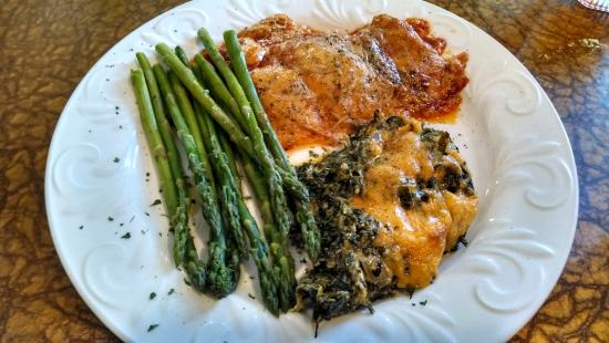 """Mountain City, TN: """"Pepperoni Chicken"""" with perfect asparagus and amazing spinach casserole."""
