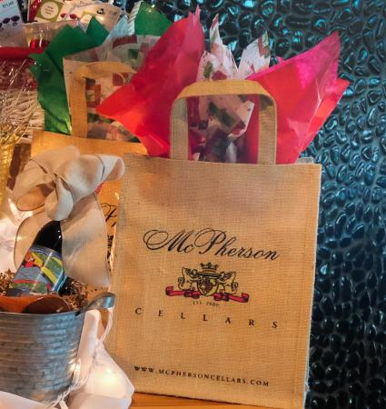 McPherson Cellars Winery: Holiday gift bag that customers can fill with wines for a holiday gift.