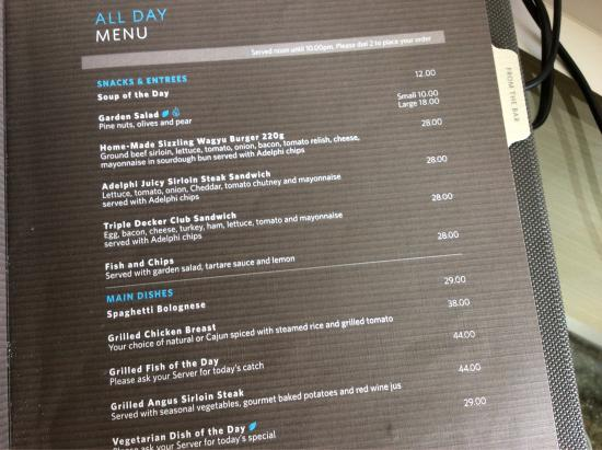 Crown Promenade Melbourne Room Service Menu