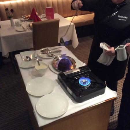 South Downs College Restaurant: flambeed plum pudding