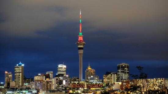 Red Monkey Ponsonby Manor: The Sky Tower decked in its 2015 Christmas Lights