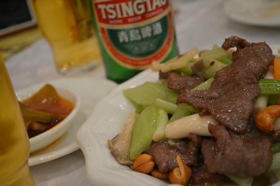 Tai Woo Seafood Restaurant : 牛肉とセロリの炒め物。