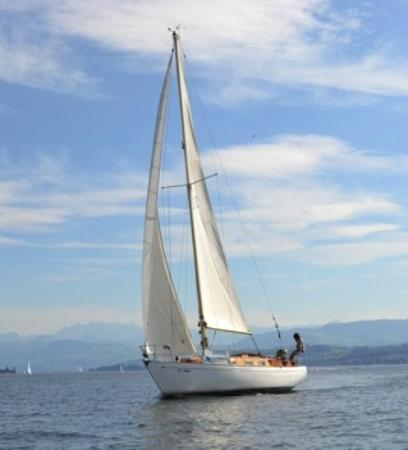 Thalwil, Swiss: Sailing Lake of Zuerich Vintage Yacht