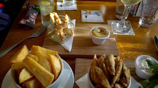Brigsteer, UK: pork scratchings and whitebait starters with chips to make lunch!