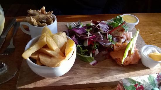 Brigsteer, UK: fish platter plus chips