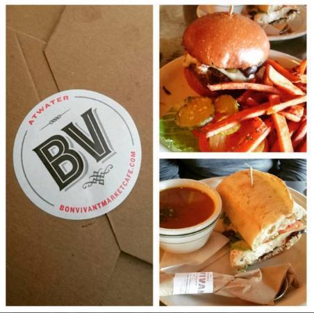 Bon Vivant Market & Cafe: Kobe beef burger (top) YUM with Sweet Potato fries
