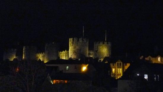 Conwy Castle by night, seen from Room 9 at the Castle Hotel