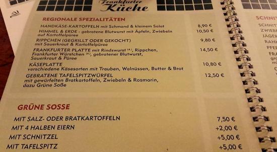 la carte - Bild von Frankfurter Küche, Frankfurt am Main - TripAdvisor