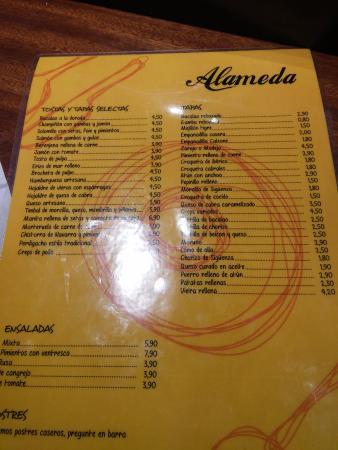Bar Alameda: Carta