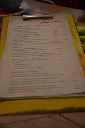 Steinbach-Hallenberg, Allemagne : ineressante und vielseitige Speisekarte