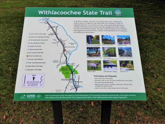 Trail map sign in Floral City Picture of Withlacoochee State Trail