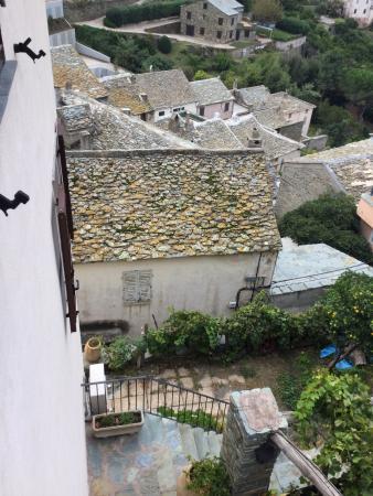 Casa Maria: garden breakfast patio and village below