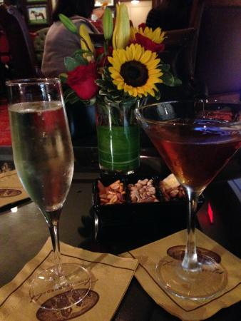 Cocktails and snacks