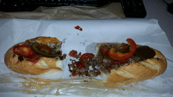 Charlie's Pizza: Cheese steak with mushrooms, mayo, pickles, hot & sweet peppers and pepperoni.