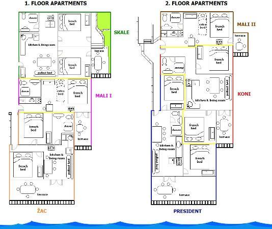 Rogoznica, โครเอเชีย: apartments floor layouts